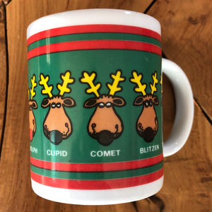 1986 Reindeer Coffee Mug Christmas Holiday Santa